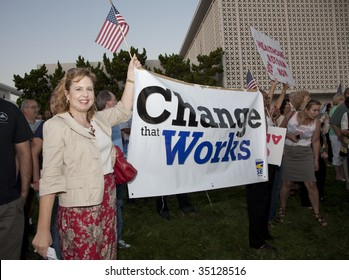 ALHAMBRA, CA - AUGUST 11: Supporters of healthcare reform hold up a banner in support of a healthcare rally held by U.S. Congressman Adam Schiff (D-CA) on August 11, 2009 in Alhambra.