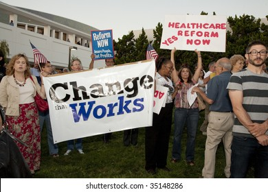 ALHAMBRA, CA - AUGUST 11: Supporters of health care reform hold up a banner in support of a health care rally held by U.S. Congressman Adam Schiff (D-CA) on August 11, 2009 in Alhambra.