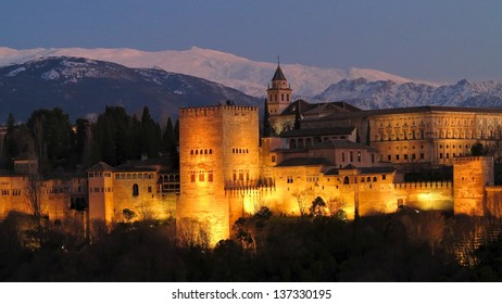 Alhambra at dusk, Granada, Andalusia, Spain