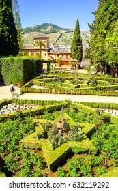 Alhambra garden summer landscape. Summer park in mountains. Alhambra, Granada, Spain