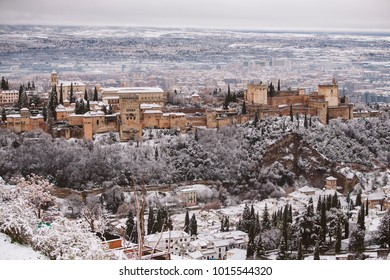 The Alhambra of Granada covered with snow.