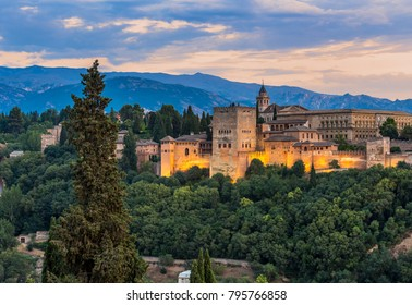 Alhambra of granada during sunset time,Spain