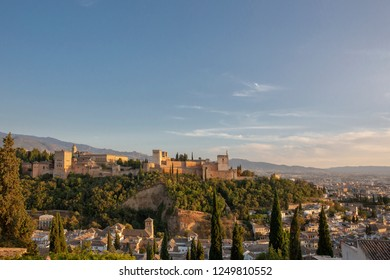 Alhambra of Granada, Spain. Alhambra fortress and Albaicin quarter at twilight, Malaga