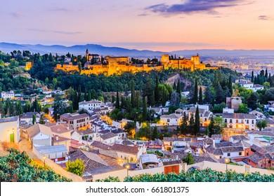 Alhambra of Granada, Spain. Alhambra fortress at twilight.