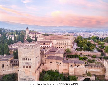Alhambra. palace and fortress complex located in Granada, Andalusia, Spain. Sunrise. Aerial photo from drone