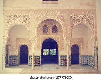 Alhambra palace, Granada, Andalusia. Image filtered in faded, washed out, retro style; travel vintage concept.