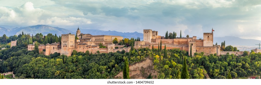 Alhambra Palace in Granada , Spain Panoramic view