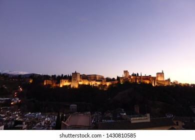 Alhambra Palace landscape and sky in Granada Spain