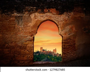 Alhambra sunset arch of Granada photo illustration