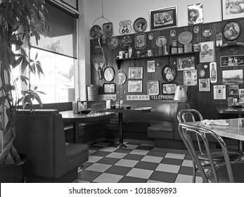 ALHAMBRA/CALIFORNIA - JAN. 11, 2018: Interior of a local diner decorated with Americana memorabilia. Alhambra, California USA