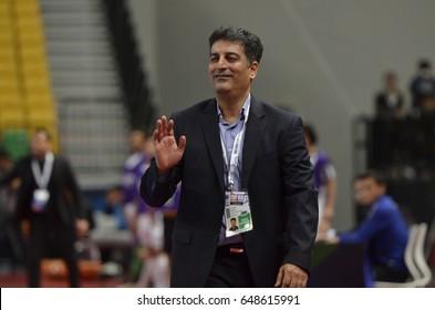 ALI ARANI head coach of ISLAMIC REPUBLIC OF IRAN during AFC U20 FUTSAL CHAMPIONSHIP 2017 final match ISLAMIC REPUBLIC OF IRAN and IRAQ at Bangkok Arena Stadium on May26,2017 in Bangkok,Thailand.