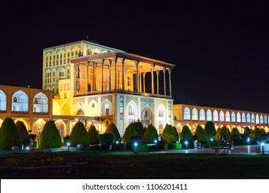 Ali Qapu grand palace in western side of Naghsh-e Jahan Square at night. Isfahan. Iran