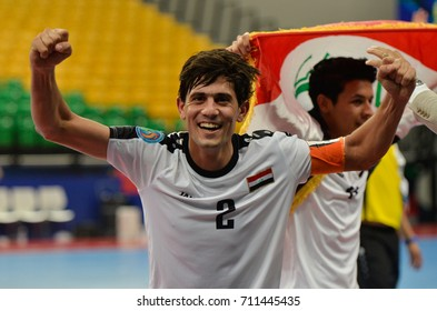 ALI SAAD of IRAQ Celebrates during AFC U20 FUTSAL CHAMPIONSHIP 2017 match IRAQ and JAPAN at Bangkok Arena Stadium on May22,2017 in Bangkok,Thailand.
