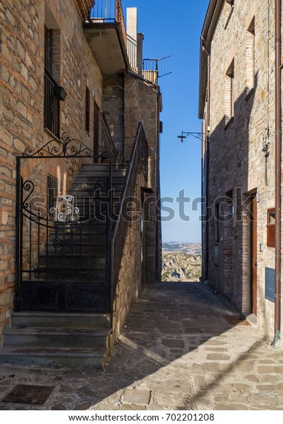 ALIANO, ITALY - 13 AUGUST 2017 - A very small town isolated among the badlands hills of the Basilicata region, famous for being the exile and tomb of the writer, painter and politician Carlo Levi