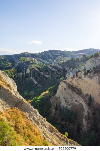 Aliano, Italy - A very small town isolated among the badlands hills of the Basilicata region, famous for being the exile and tomb of the writer, painter and politician Carlo Levi