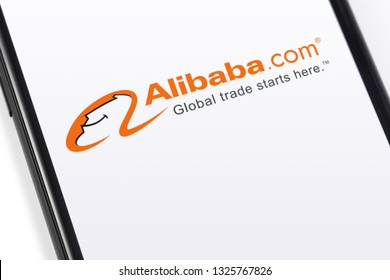 Alibaba logo on the screen smartphone. Alibaba the the world biggest online commerce company. Its three main sites Taobao,Tmall and Alibaba. Moscow, Russia - February 28, 2019