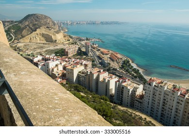 Alicante bay and town as seen from its castle