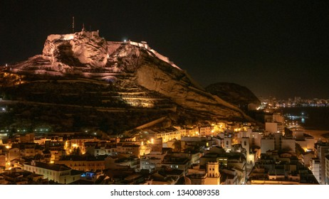 Alicante, Castle of Santa Barbara at night