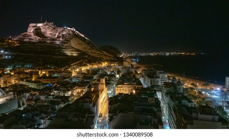 Alicante, Castle of Santa Barbara on Mount Benacantil at night