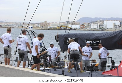 "Alicante city - 2 October: ABU DHABI boat crew preparing for a morning training in ""Volvo Ocean Race 2014-2015"", October 2, 2014 in Alicante city"