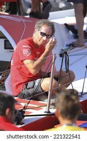 Alicante city- 3 October: Michel Desjoyeaux, MAPFRE watch captain using solar protection in Volvo Ocean Race 2014-2015 in October 3, 2014 in Alicante city.