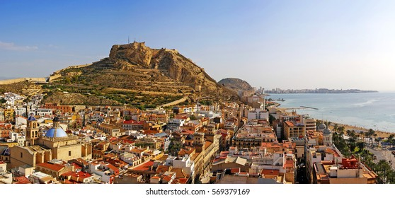 Alicante city and Castillo de Santa Barbara in sunny day, Spain