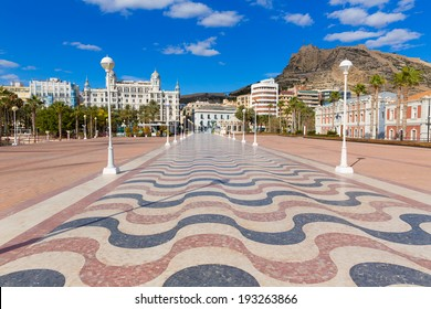 Alicante city and castle from port in Mediterranean Spain Valencian Community