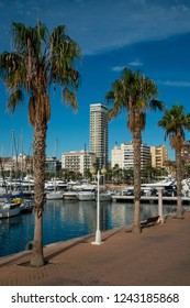 Alicante city, Costa Blanca, Spain, Europe / 24/11/2018 - A view of the Maritime port in Alicante city.