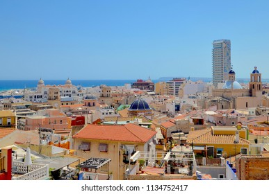 Alicante city skyline viewed from Mount Benacantil, in the city Port of Alicante, Spain, Costa Brava, Europe. July 2018