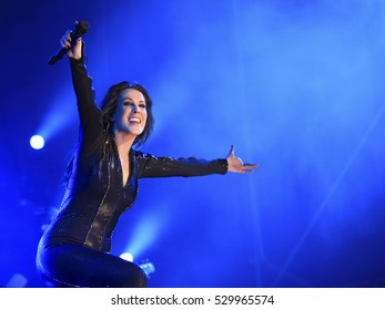 ALICANTE City, SPAIN - October 15, 2016: Spanish singer MALU in concert into city bull-ring. International CAOS Tour.