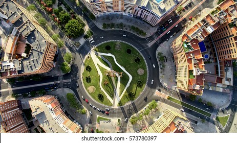 Alicante cityscape birds eye view. Aerial photography view of crossroads, roads and rooftops. Quadcopter. Wide angle image. Costa Blanca. Spain.
