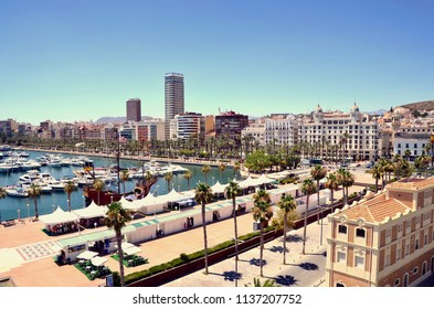 Alicante Marina, luxury yachting port in the South of Spain, popular holiday destination . Alicante, Costa Brava, Spain UK. July 2018