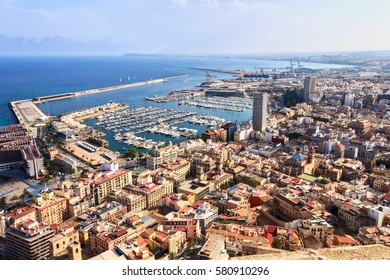 Alicante is one of the largest centers of tourism of Spain/visible sea port and yachts in the seaside city of Alicante