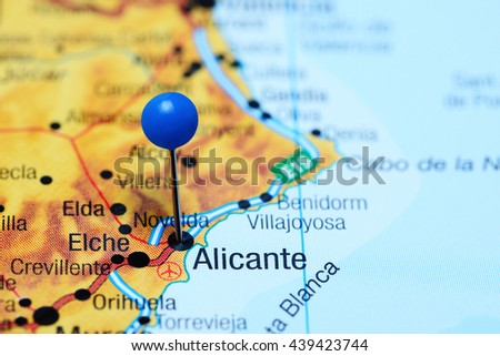 Alicante Pinned On Map Spain Stock Photo Edit Now 439423744