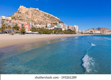 Alicante Postiguet beach and castle Santa Barbara in Spain Valencian Community