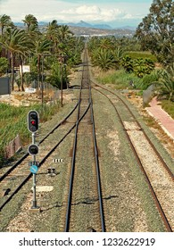 Alicante province, Spain. View from Albatera-Catral station of the main line  of the railway track north to Elche and Alicante.  An exact straight line cutting through the palm trees.