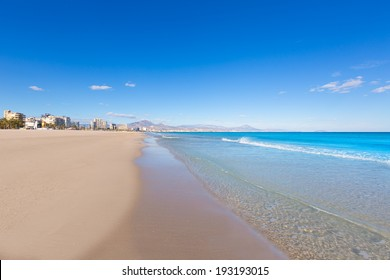 Alicante San Juan beach beautiful Mediterranean sea at Spain valencian Community