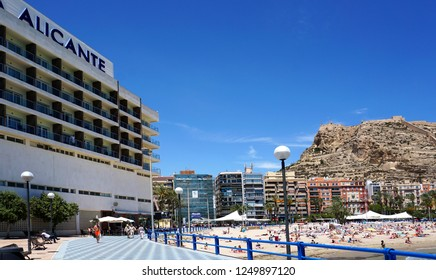 Alicante/ Spain - 05/16/2018: Hotel Alicante in Alicante at the foot of the mountain with the fortress of Santa Barbara