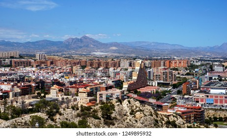 Alicante/ Spain - 05/16/2018: View from the fortress of Santa Barbara on the city of Alicante and the mountains in the distance