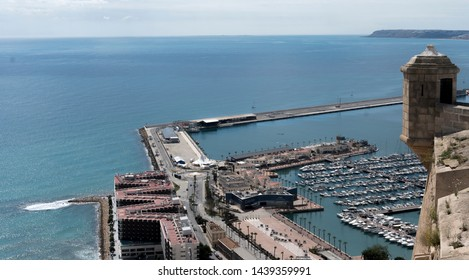 Alicante, Spain -  12 april 2019: landscape view of Alicante city with autumn sky.