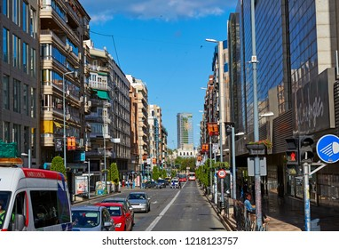 ALICANTE SPAIN / 7TH JULY 2015; High street and shops in Alicante, Spain