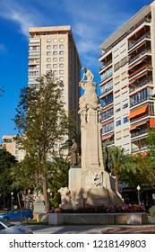 ALICANTE SPAIN / 7TH JULY 2015; The 'Monumento a Canalejas' sculpture along 'Alicante promenade' in Alicante, built in 1886 it was built by architect Jose Gonzalez Altes