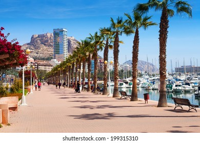 ALICANTE, SPAIN - APRIL 14, 2014: Port side embankment in Alicante