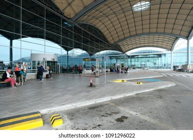 Alicante, Spain- April 28, 2018: People at the Alicante International Airport, also known as Alicante-Elche Airport, is currently the fifth largest airport in Spain