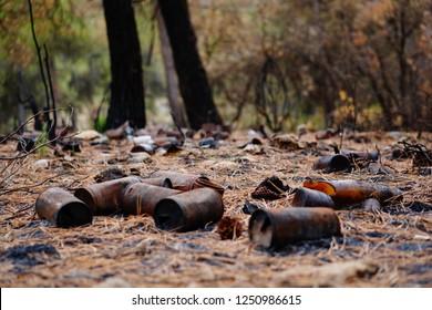 Alicante / SPAIN - August 11, 2017: Incendio en la Sierra de Mariola descubre Residuos