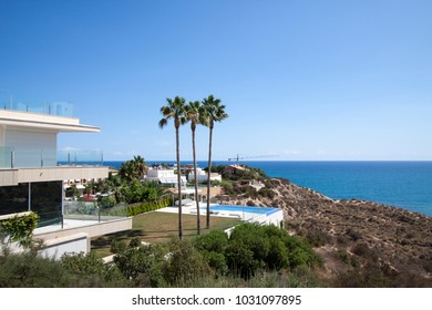ALICANTE, SPAIN, AUGUST 2017. Large holiday villas on the seaside hills of Alicante.
