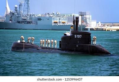 Alicante, Spain - August 23, 2009. S197 Type 206 diesel-electric submarine (U-boats) developed by Howaldtswerke-Deutsche Werft entering in Alicante harbor in Spain.
