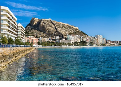 Alicante, Spain. The beach and 'Castillo de Santa Barbara'