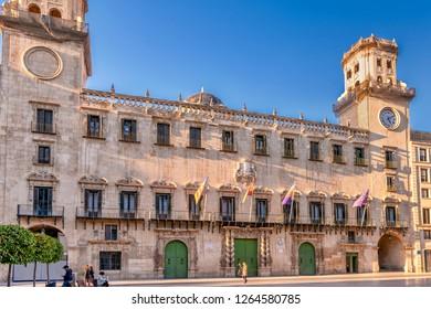 Alicante, Spain. Circa February 2017. Facade of Alicante town hall building.