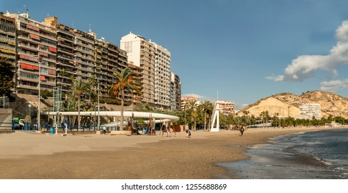 Alicante, Spain - December 1, 2018: Promenade in the Marina of Alicante at december - Spain